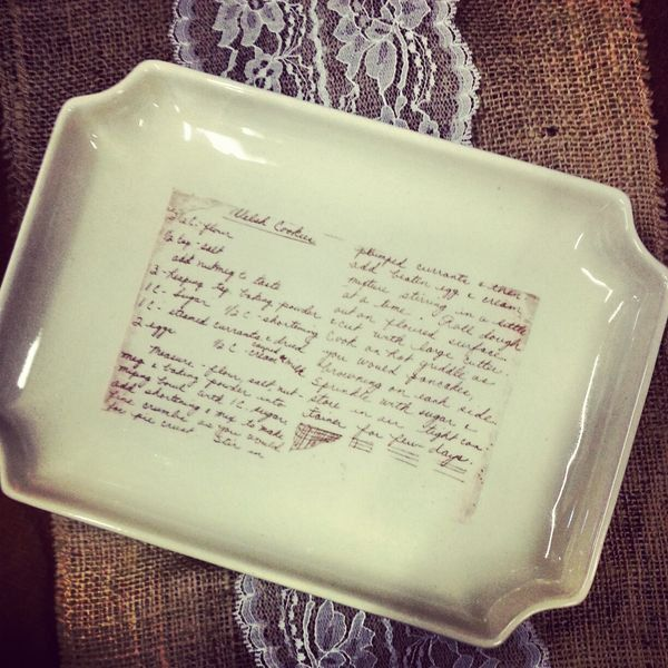 CUSTOM RECIPE PLATE scan a family recipe and send me by phpottery, $45.00