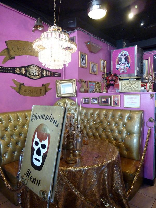 Lucha Libre (Mexican Wrestling) Themed Taco Shop  http://www.tacosmackdown.com/