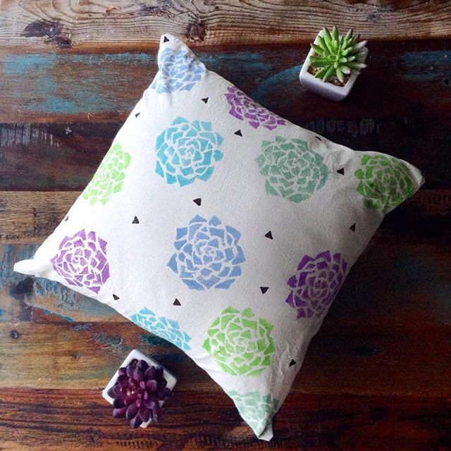 Nighty night... Spongy succulents ready for bed after a hot summer day 🌺 find this new cushion design listed in the online shop (link in bio)!