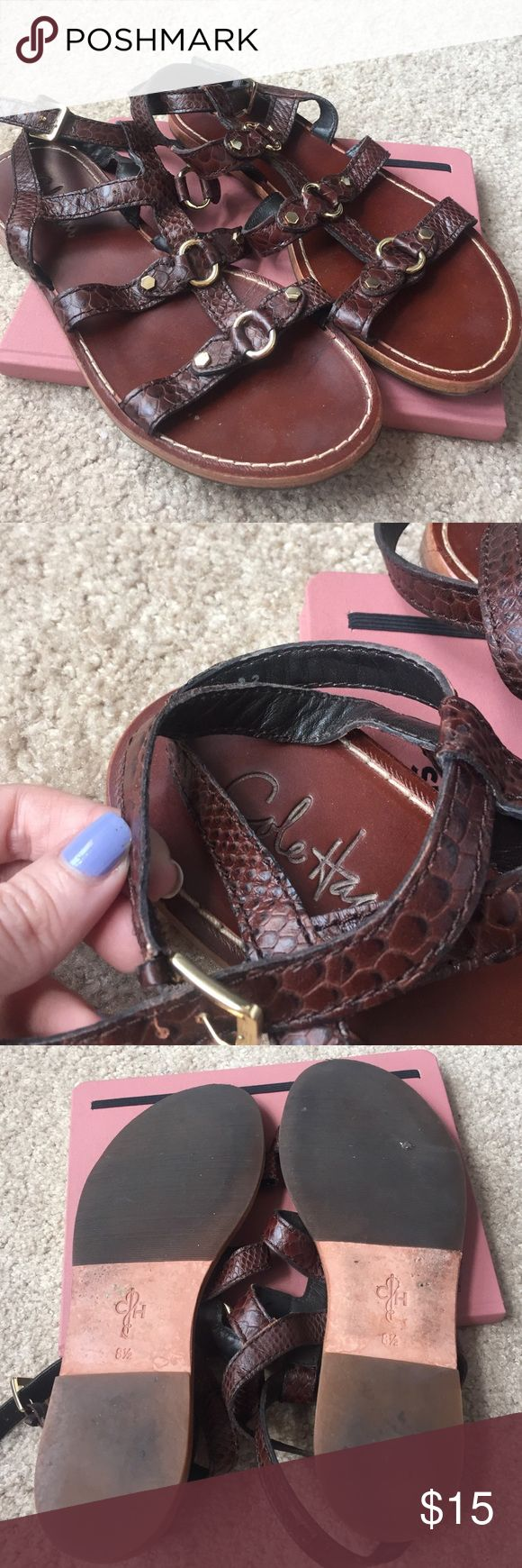 Cole Haan brown gladiator sandals sz 8.5 Cole Haan brown embossed leather gladiator sandals with gold embellishments, size 8.5. Bought them at a Cole Haan outlet a few years ago but decided the gladiator trend wasn't really for me. Barely worn! Cole Haan Shoes Sandals