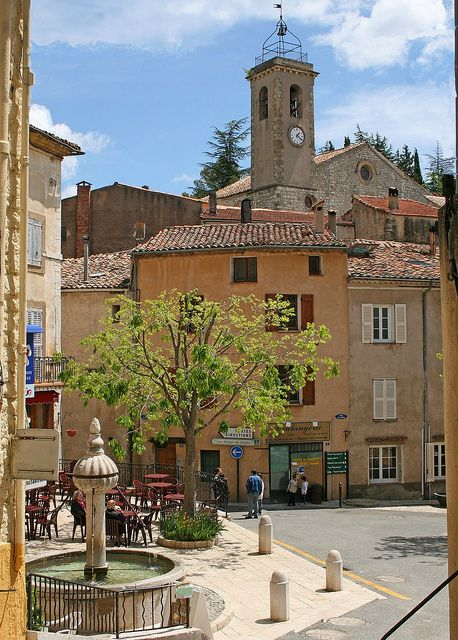 | ♕ | Village square of Ampus, Provence | by © Catherine Chanel