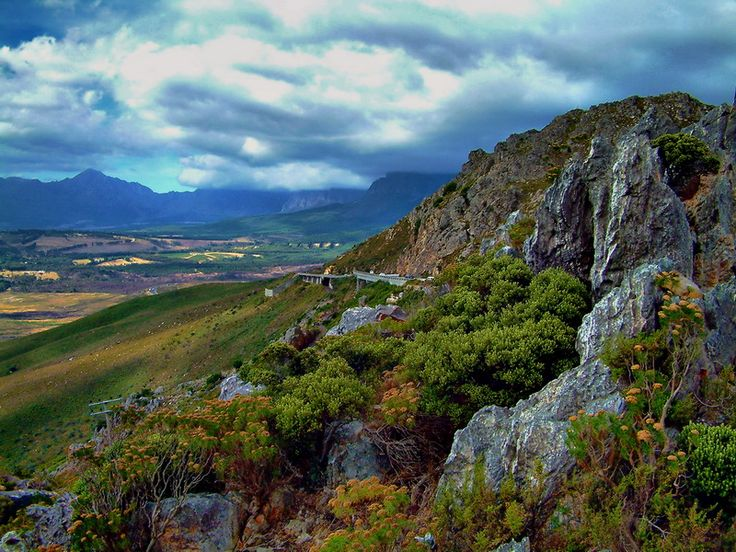 A view of the Sir Lowreys Pass near Gorden's Bay, South Africa.
