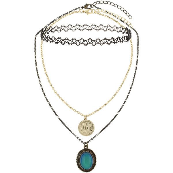 TOPSHOP Mood Stone, Charm and Tattoo Choker Triple Pack (825 UYU) ❤ liked on Polyvore featuring jewelry, necklaces, accessories, chokers, multi, charm necklace, black stone necklace, black choker, charm jewelry and chain necklace