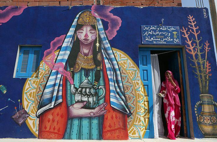 Gorgeous works if art in a small Tunisian village!  #streetart #graffiti   djerbahood-mural-art-project-erriadh-tunisia-20