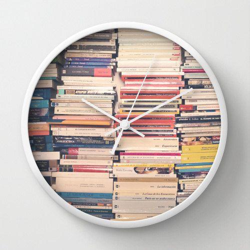Wall clock book lover book art office decor