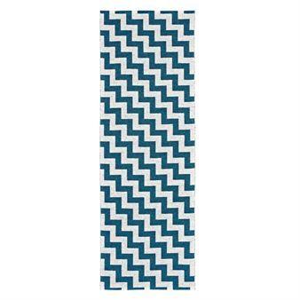 Het Gunnel vloerkleed met het patroon in blauw en wit. Gunnel is een van de vloerkleden van Brita Sweden en is verkrijgbaar in verschillende kleuren en maten. Het vloerkleed is makkelijk schoon te maken, dankzij het plastic materiaal. Daarom past het perfect in zowel de keuken als de badkamer.