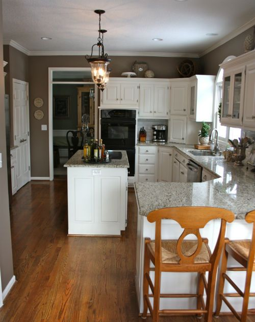 kitchen view--paint color and island pendant lights