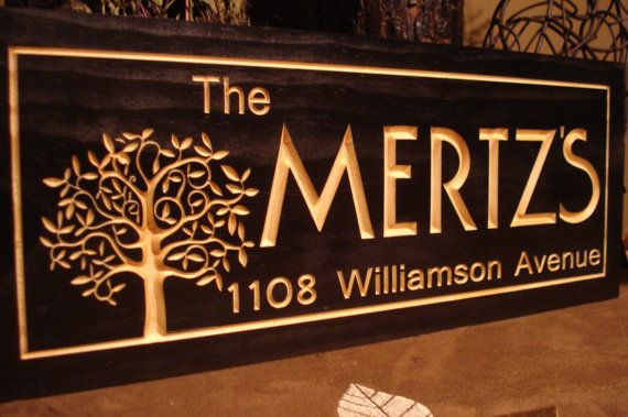 Custom Carved Wood Last Name Family Tree Address Sign