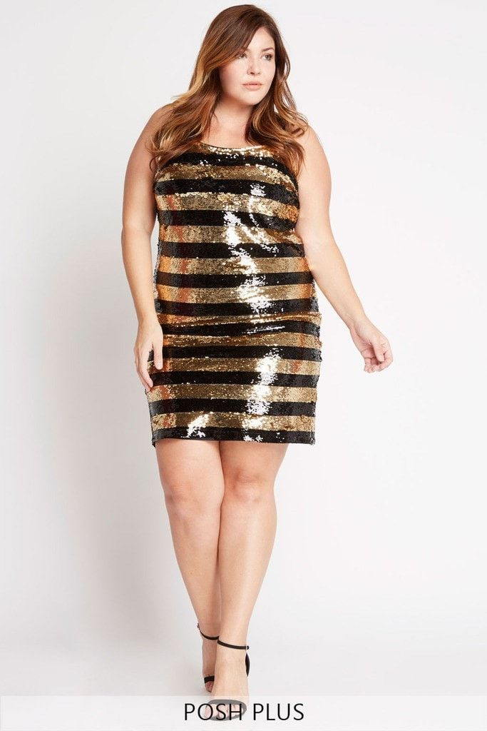 Next To You Striped Sequin Dress Plus Size