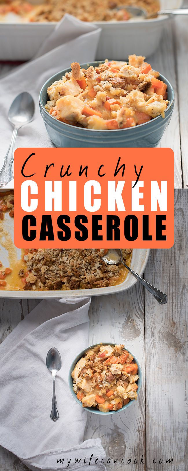 If you're looking for the perfect fall casserole you'll love the easy crunchy chicken casserole recipe. It's a great fall/autumn recipe which features chicken, carrots, a cheesy sauce and breadcrumbs. Fall casseroles are perfect for the the busy back-to-school season when you don't have lots of time and you need easy family meals. This simple chicken casserole is a family favorite dish. So fulfill your casserole craving and enjoy an easy fall recipe tonight. And leftovers tomorrow!
