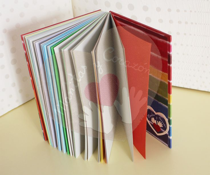 Encuadernación copta decorativa - Cuaderno arcoiris