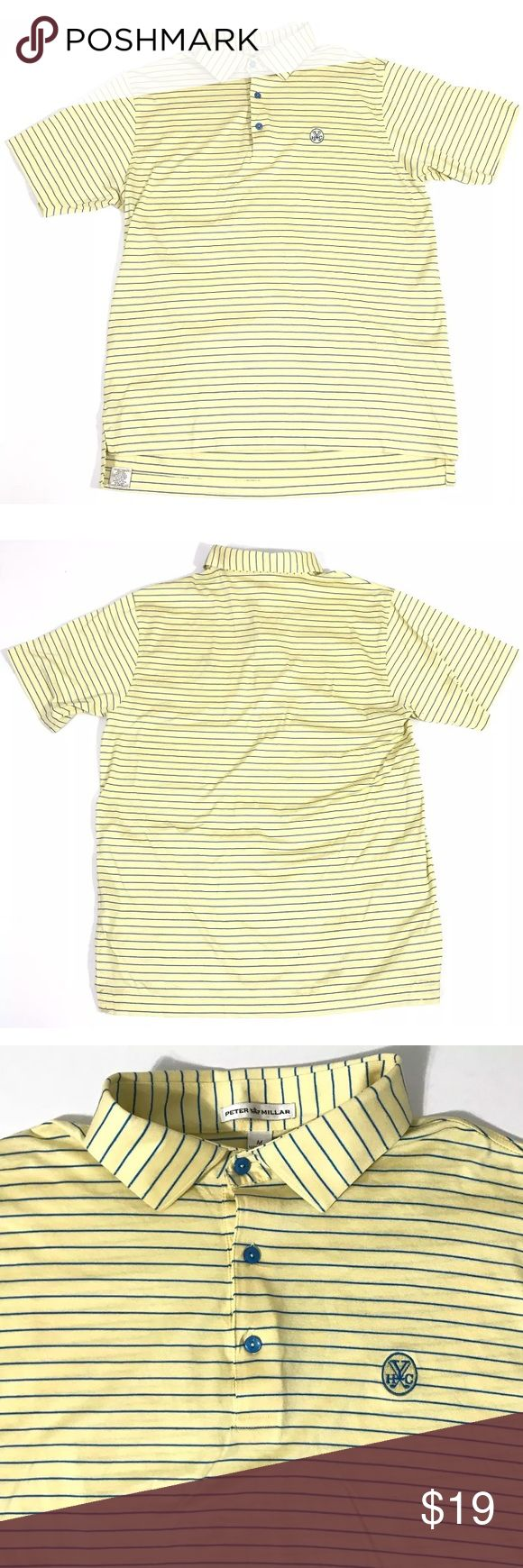 Peter Millar Polo Collared Shirt Men Size Medium Peter Millar Yellow Blue Striped Polo S/S Collared Shirt Men Adult Size Medium  This top is in great condition with no stains/rips/odors. Please see all pictures. Peter Millar Shirts Polos