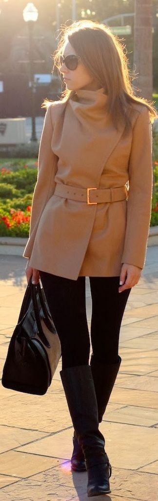 Women's fashion | Belted Ted Baker coat with knee boots