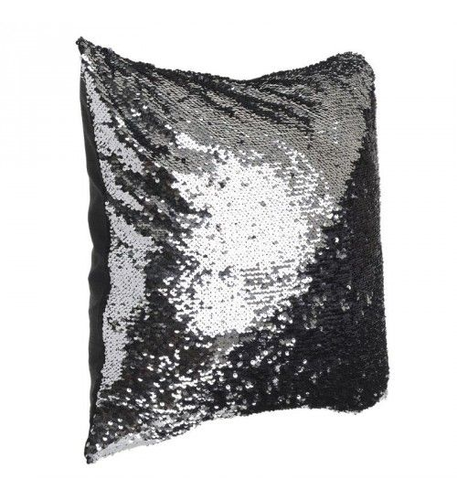 FABRIC PILLOW W_BEADS DOUBLE IN SILVER_BLACK 45X45