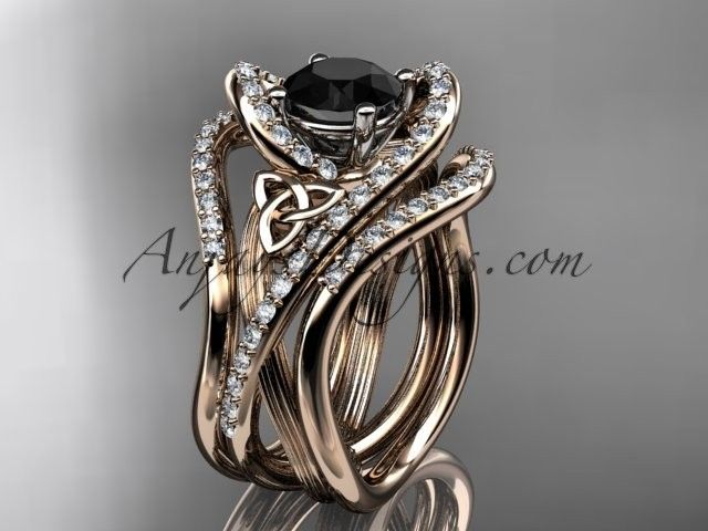 14kt rose gold diamond celtic trinity knot wedding ring, engagement ring with a Black Diamond center stone and double matching band  CT7369S