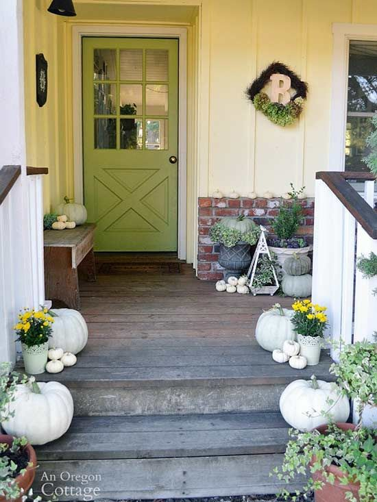 <p>Looking for some fall porch inspiration? Whether you have a balcony, a wraparound porch, or just a small stoop, you can add fall touches to your space with pumpkins, mums, and cornstalks.</p>