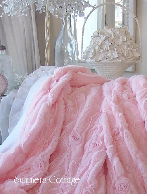 pink fur satin ribbon ruffle roses throw.....luxury