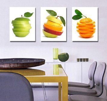 Espritte Art-Huge Tasty Fruits Picture Painting on Canvas Print without Framed, Modern Home Decorations Wall Art set of 3 Each is 40*60cm #cy-561