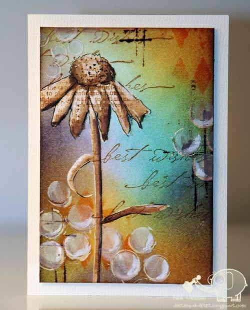 De Stempelolifant mixed media card - love the flower against the colourful background