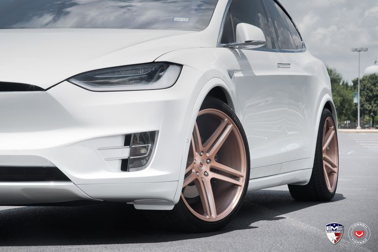 White Tesla Model X Sits on Gold Vossen Forged Wheels