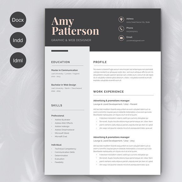 Resume Amy 2 pages - FEATURES INCLUDED  2 page Resume Cover Letter Set of icons ( Ai, Eps, Png ) CS5+ InDesign Files ( INDD ) CS4 InDesign Files ( IDML ) Microsoft Word Files (DOCX) PDF for preview paragraph styles Help file Size : A4 The fonts used are free ( links in the help file )   @creativework247