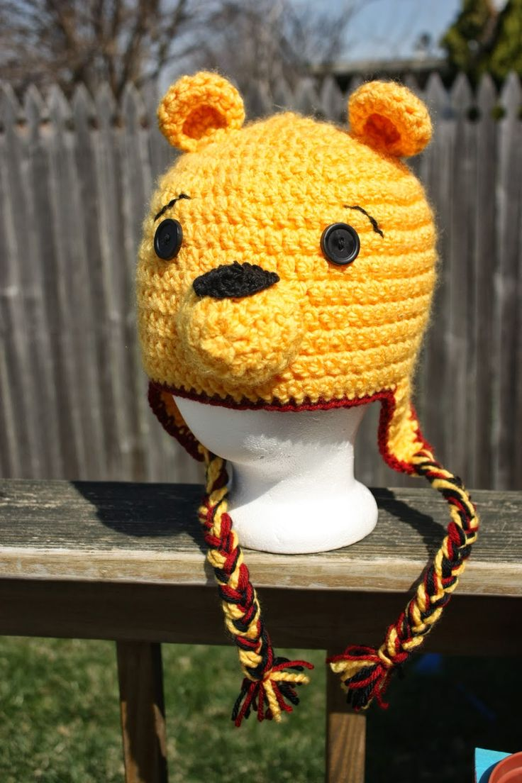 Crochet Pooh Bear Hat Pattern : Toluvers Creations: Pooh Bear Hat! Crochet and knitting ...