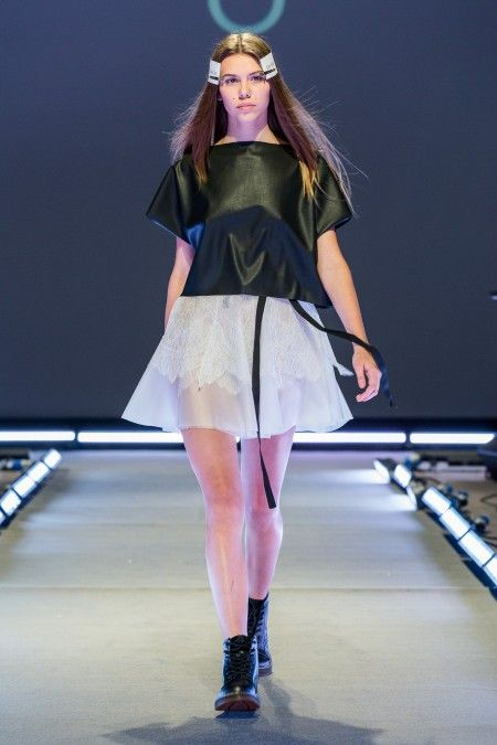 Leather top and transparent skirt by Coo Culte