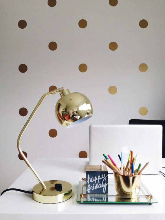 Accessorize in gold with gold polka dot wall decals