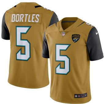 Jacksonville Jaguars #5 Blake Bortles Gold Color Rush Limited Jersey