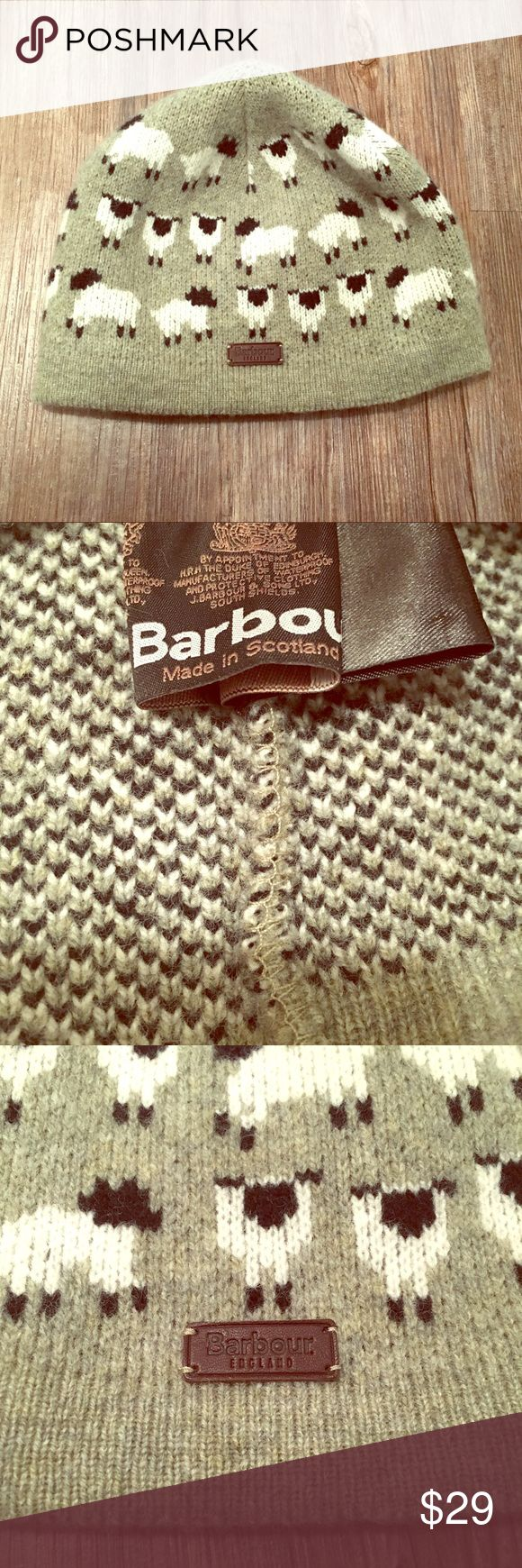 Barbour 100% Wool Beanie with Sheep 🐑 Cozy wool beanie with sheep pattern. The perfect gift for the sheep lover in your life. Like new—no defects!  📦 Bundle for a discount!  🏷 We accept all reasonable offers! Barbour Accessories Hats