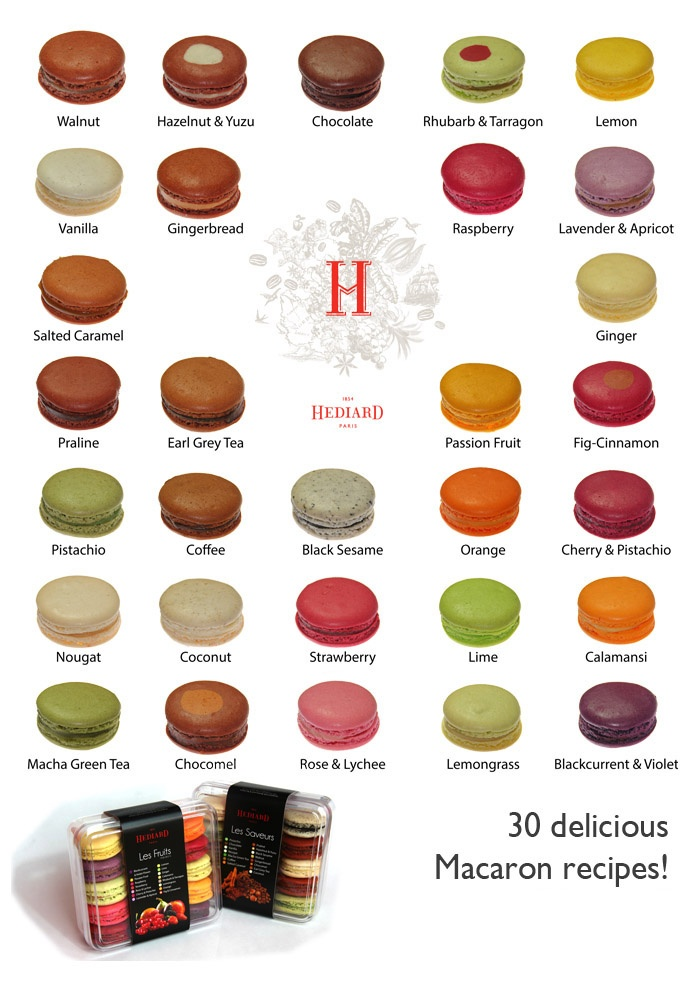 Incredible variety of 30 macarons flavors!