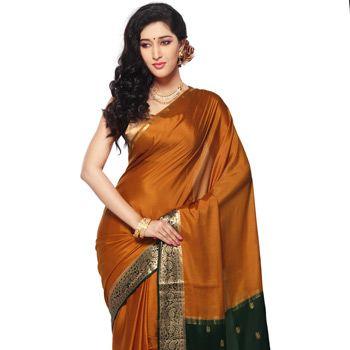 Dark Mustard Pure Mysore Silk Saree with Blouse