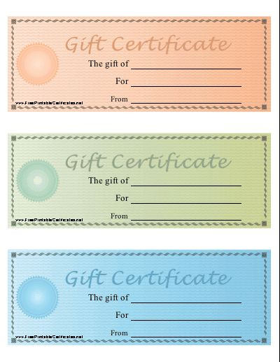 A set of three printable gift certificates on one sheet in pastel colors. Dollar amounts can be added within a seal design, using the computer on the premium version or by simply writing on the free version. Free to download and print