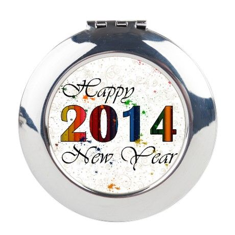 Happy New Year 2014 Round Compact Mirror