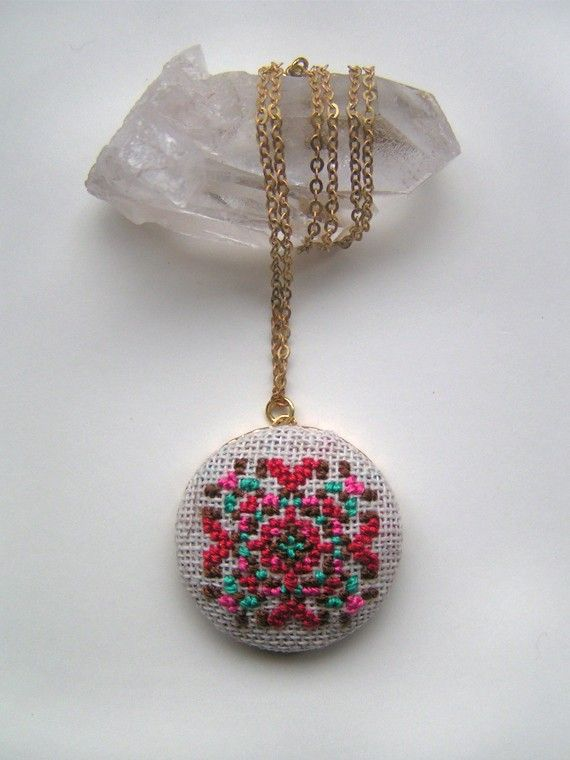 Folk Fractal cross stitched pendant necklace from GammaFolk on Etsy