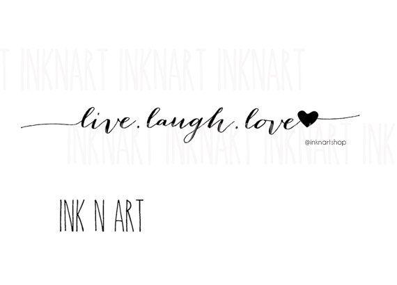 2pcs LIVE.LAUGH.LOVE heart tattoo InknArt Temporary by InknArt