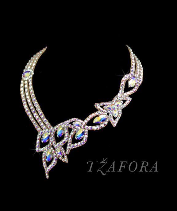 """Sweet Georgia Brown"" - Swarovski ballroom necklace. Ballroom dance jewelry, ballroom dance accessories. www.tzafora.com Copyright © 2015 Tzafora. Handmade in Canada."
