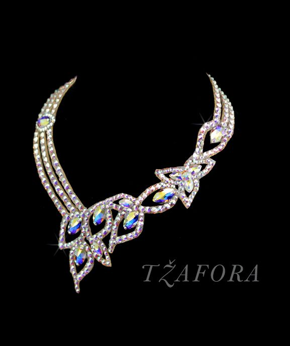 """Sweet Georgia Brown"" - Swarovski ballroom necklace. Ballroom dance jewelry, ballroom dance accessories. www.tzafora.com Copyright © 2015 Tzafora. Handmade in Canada."
