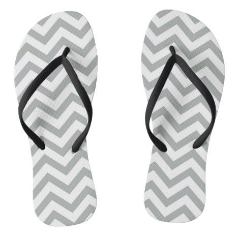 Gray And White Large Chevron Stripe Flip Flops #chevron #patterned #footwear #fashion