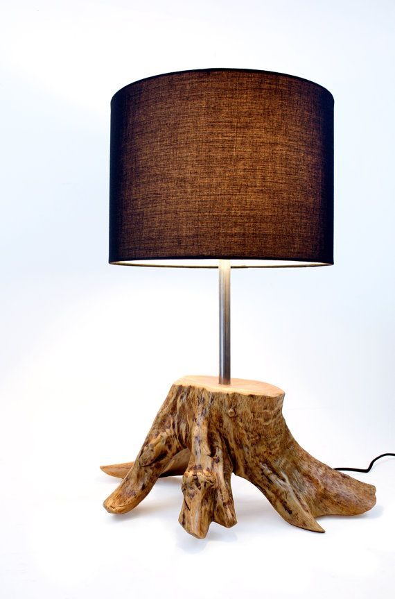 Tree Trunk Lamp Reclaimed Wood Lighting Driftwood Rustic Chic