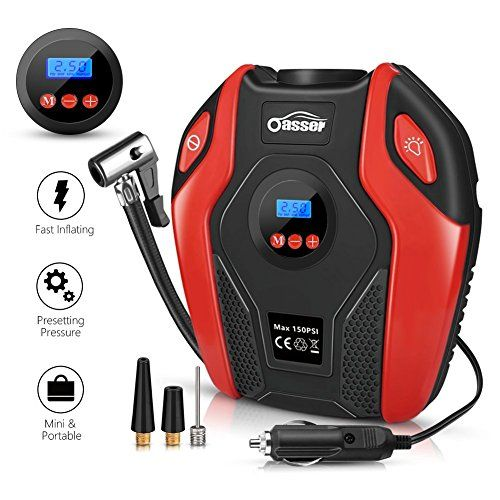 Oasser Tire Inflator Portable Air Compressor Pump Electric Air Infaltor with Digital LCD LED Light Auto Tire Pump 12V DC 150 PSI for Car Truck Bicycle RV and Other Inflatables P6 - Portable Compact and Powerful Air Compressor! ღ Easy to inflate car tires and other infaltables ღ LCD digital display,to monitor the health of the tire pressure at any time ღ 4 tire pressure units available: PSI, KPA, BAR, kg/cm² ღ Preset tire pressure,when the tire pr...