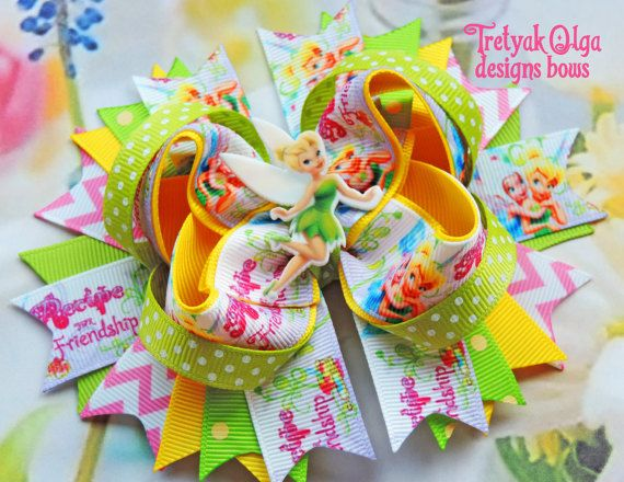 Tinkerbell Hairbow-Tinkerbell Inspired OTT Hair Bow-Fairy Hair Bow-Boutique Bow-Tinkerbell Tutu-Disney Bow
