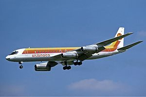 An Air Jamaica DC-8-62H approaching London Heathrow Airport in 1978