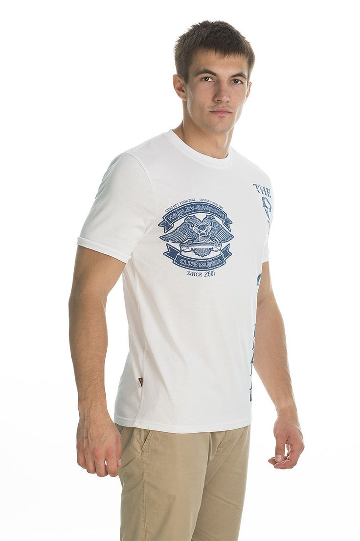 T-shirt Original; white/blue print.
