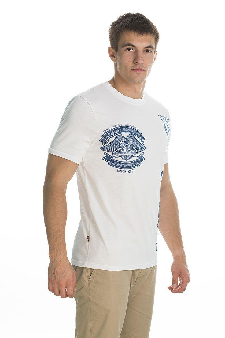 T-shirt Original; white/blue print.