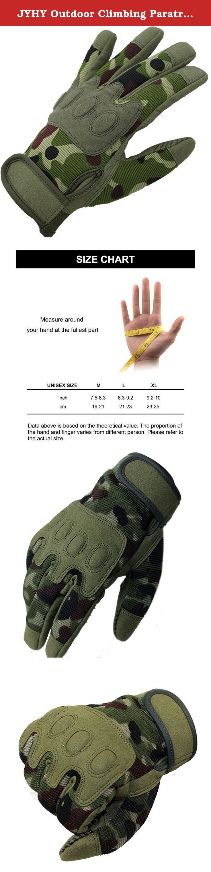 JYHY Outdoor Climbing Paratrooper Training Full Finger Protective Camouflage Gloves.Design MTB BMX Motocross Gloves for Cycling Bike Climbing Hiking,L. Size Information: M:8 inch L:9 inch XL:10 inch.