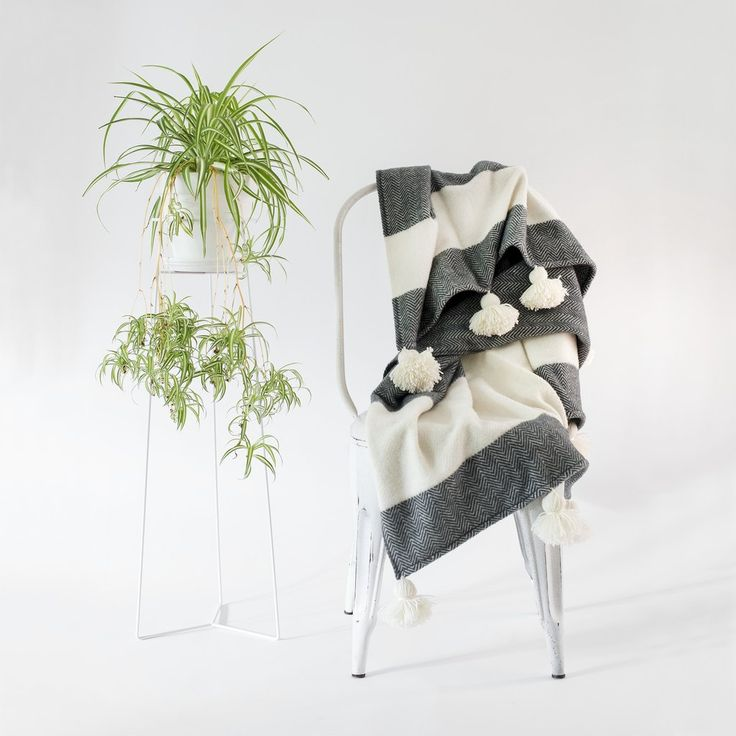 WOOL THROW BLANKET CHARCOAL WITH POM POMS
