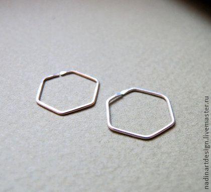 Серебряные Серьги-Шестиугольники. Красивые геометрические серёжки.