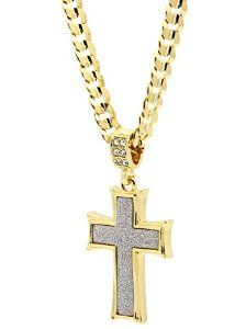 """Mens Gold Tone Stardust Curved Cross Thick Pendant Hip-hop 6mm 24"""" Cuban Chain Necklace"""