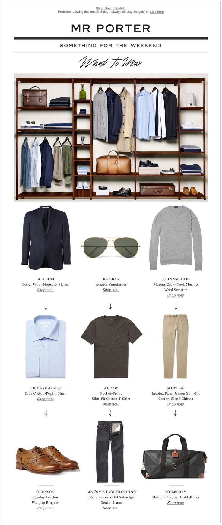 Mr Porter and what to wear. Great layout design inspiration for a Brick and Click Store.